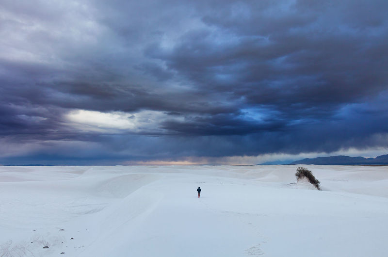 Alone Into The Storm One Person Remote Sand Sand Dune Storm White Sands National Monument