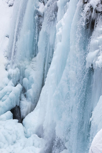 Scenic view of snow covered waterfall
