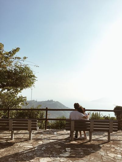 Couple Love Cuddles Cuddle Time Sweet Calm Sky Relationship Sitting Bench Clear Sky People Hilltop View