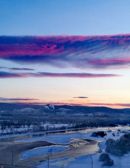 Енисей Enisey Krasnoyarsk Sunset Snow Beauty In Nature Scenics Day Winter