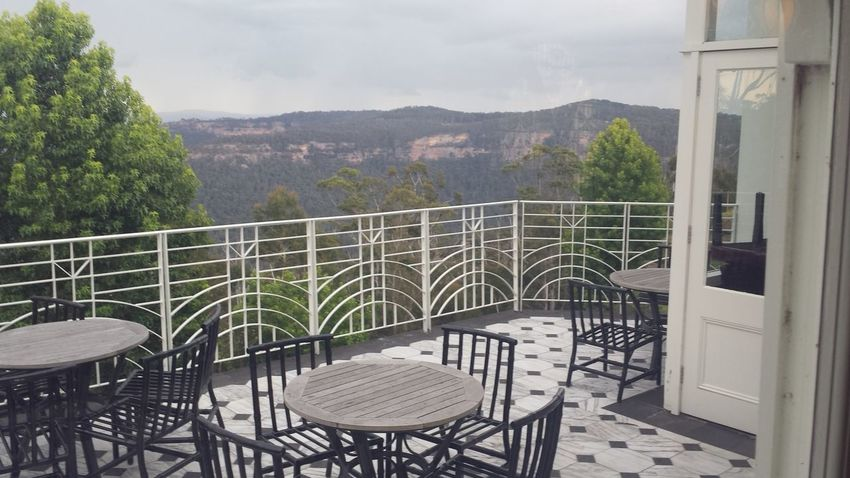 Balcony Black White Blue Mountains Cafe Empty Furniture Hydro Majestic Mountain Table Chairs Tree View