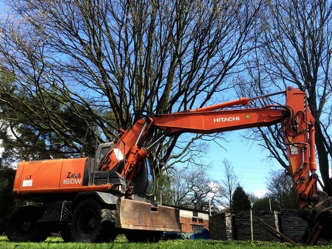 Bare Tree Tree Transportation Outdoors Day No People Sky Construction Digger Industrial Hitachi