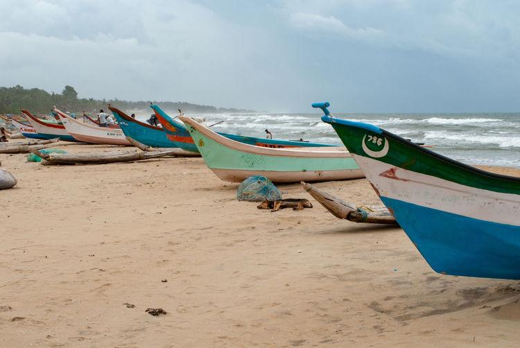 Mamallapuram Mahabalipuram Mahabalipuram, India Beach Fishing Boat Outdoors Moored Sea Sand Nautical Vessel India Indian Ocean Water Land Coast Indian