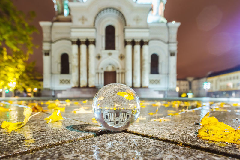 Reflection Church Crystal Ball Lietuva Reflection Sphere Arch Architecture Building Exterior Built Structure Close-up Day Glas Ball Illuminated No People Outdoors Place Of Worship Religion Soboras Spirituality Yellow