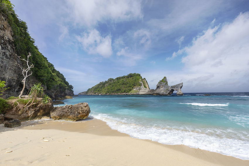 Beautiful view of part of Atuh Beach on Nusa Penida in Indonesia. ASIA Atuh Beach Bali Diving INDONESIA Snorkeling Sunny Travel Aquamarine Atuh Balinese Beach Blue Destination Diamond Klungkung Nusa Penida Paradise Pejukutan Relax Summer Swim Tourism Tropical White Sand