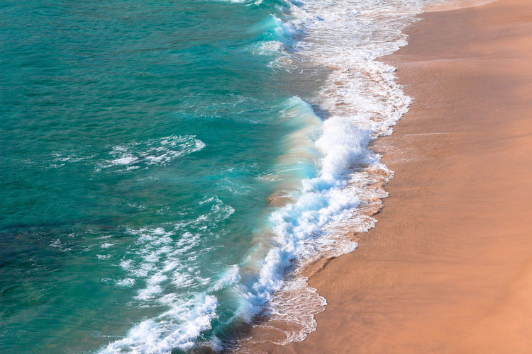 High angle view of surf on beach at bondi