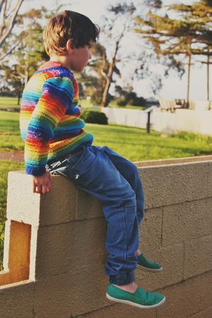 Boy Rainbow Rainbow Colors Knit Jumper Childhood Child Children Only One Boy Only One Person Casual Clothing Real People Outdoors Males  Diversity EyeEmNewHere EyeEm Diversity TCPM