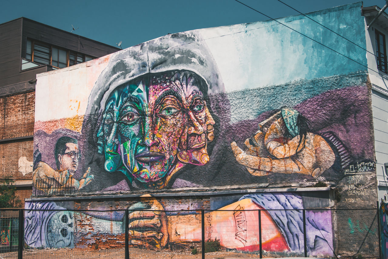 art and craft, creativity, graffiti, built structure, building exterior, architecture, human representation, street art, multi colored, outdoors, day, no people, close-up
