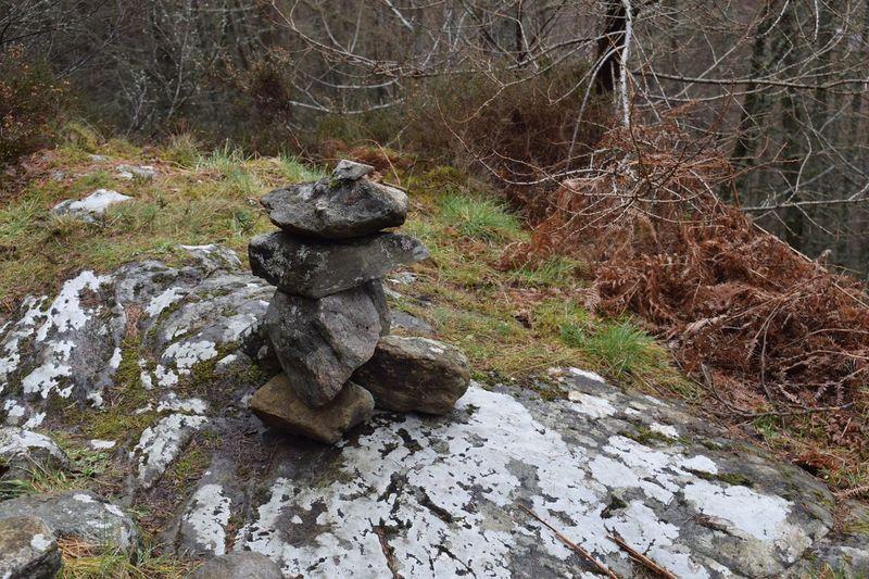 Statue amidst rocks in water