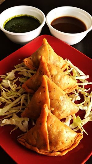 Samosas - an Indian savoury snack. Samosa Chutney Home Made Food Snack Time! Foodphotography Tasty Food And Drink Ready-to-eat Food Freshness Plate No People Serving Size Indoors  Temptation Appetizer Bowl Close-up Food Stories