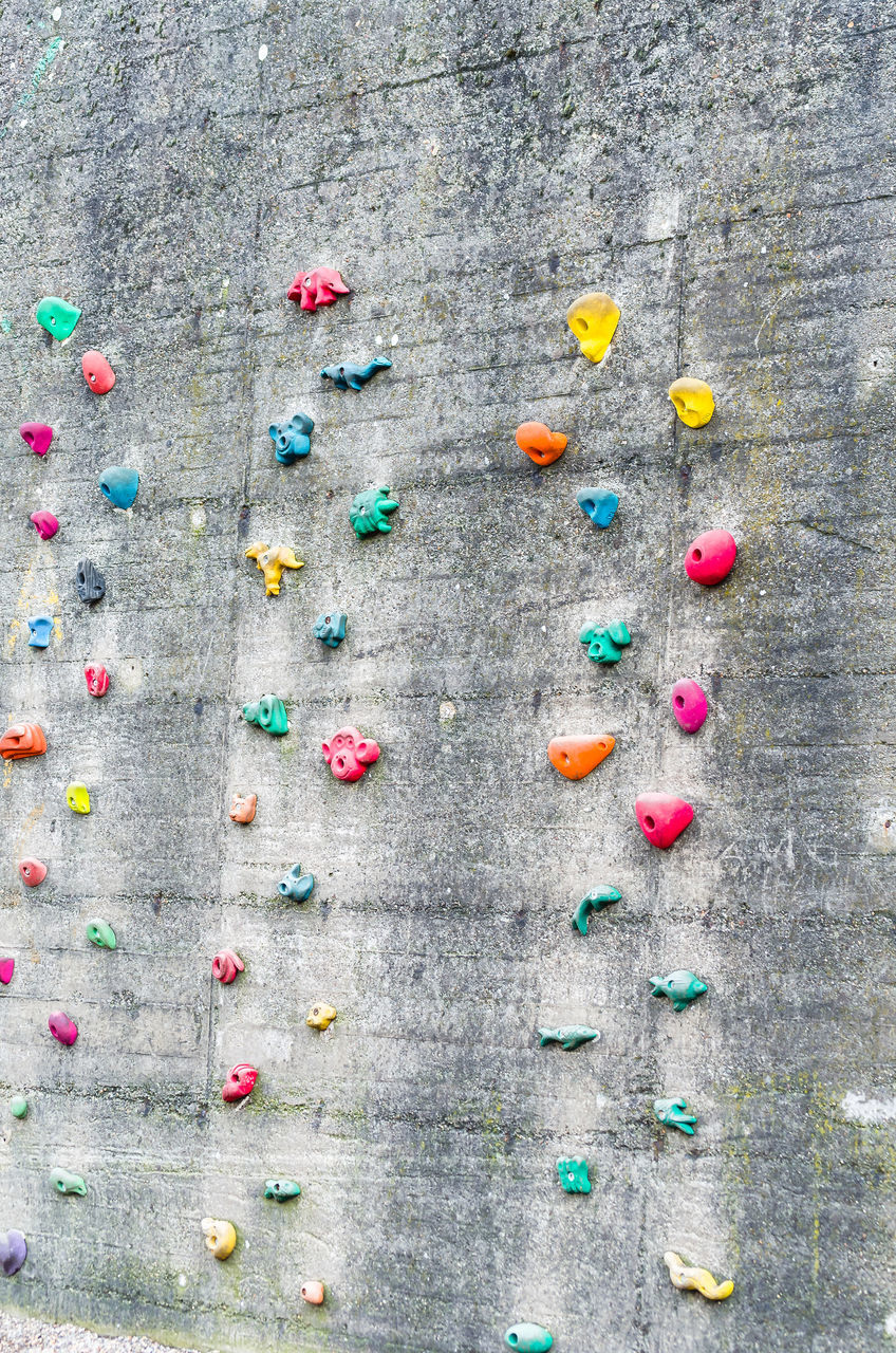 Colorful Handgrips On Old Wall