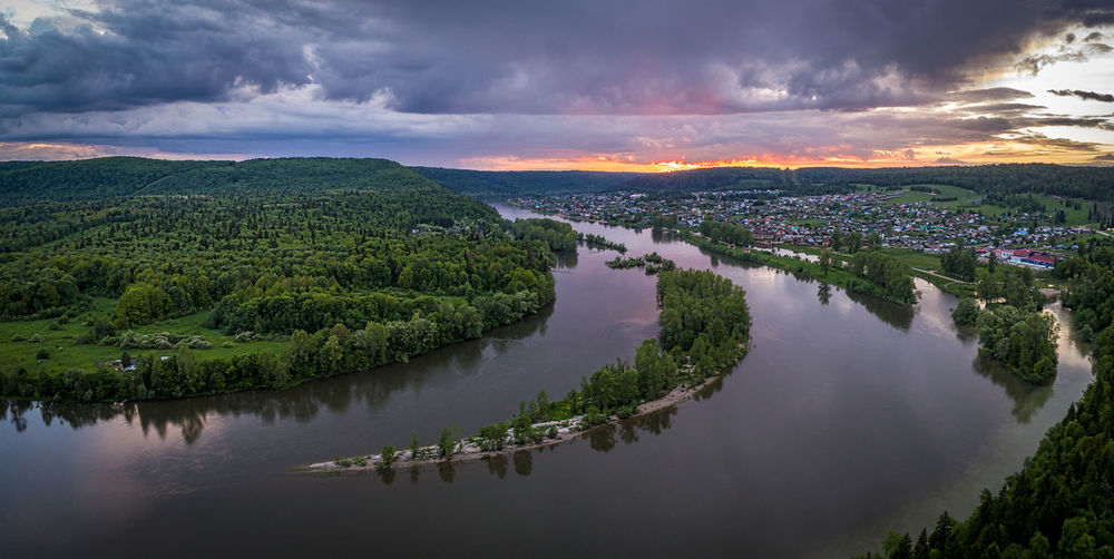 Sunset panorama in Pushkino, Russia Bashkortostan Panorama Pushkino Russia Aerial Photography Beauty In Nature Cloud - Sky Day Dramatic Sky Landscape Nature No People Outdoors Phantom4pro Reflection River Scenics Sky Sunset Tranquil Scene Tranquility Tree Urals Water