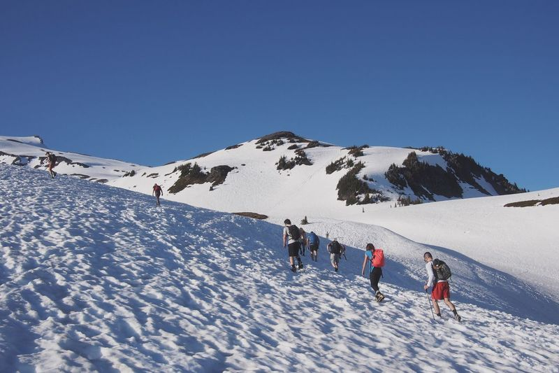 People walking on mt rainier against clear sky on sunny day during winter