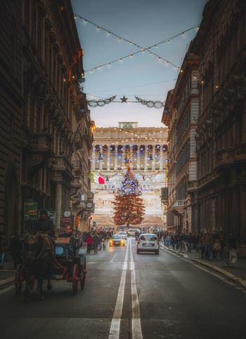 Building Exterior Architecture City Built Structure Transportation Mode Of Transportation Motor Vehicle Sky Street Land Vehicle Car Road Building Nature Direction Residential District City Street City Life Outdoors Roma Italian City Altare Della Patria Christmas Italy City