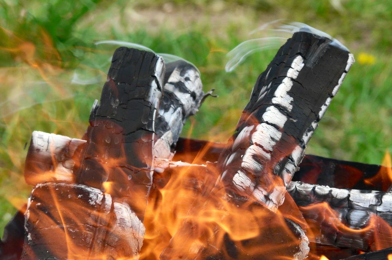 Close-Up Of Burning Wood