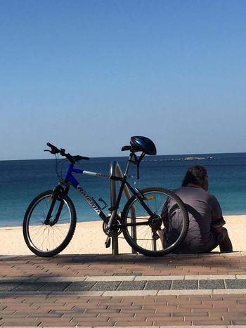 solitude Sea Beach Water Sand Bicycle Sky Horizon Over Water Calm Tranquility