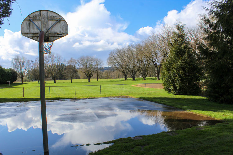 Scenic view of basketball court against sky