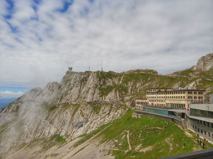Pilatus Mt.,Switzerland Built Structure Travel Destinations Switzerland Alps Pilatus Mt. Vacations Switzerland Building Exterior Architecture Beauty In Nature Landscape Scenics Sky Day Nature Outdoors Cloud - Sky Mountain Summer Panoramic