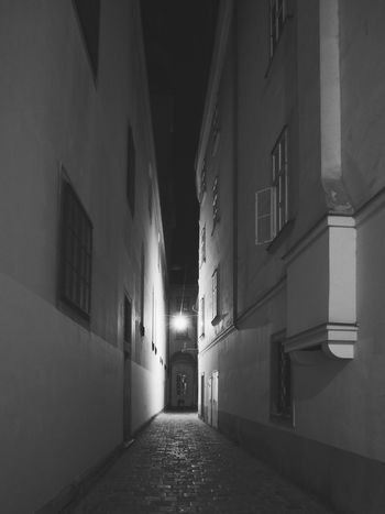 Architecture Built Structure Building Exterior No People Night Illuminated Indoors  Old Town Alleyway Light And Shadow Lonely Vienna Wien Bnw Blackandwhite Schwarzweiß