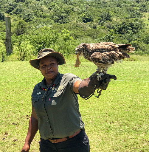 The birds in this collection are all in the African Bird of Prey Sanctuary. They are all rescued birds who are not able to survive in the wild. Bird Bird Handler Birds Of Prey Day Hat Horned Owl Nature One Person Outdoors People Raptors Real People South Africa