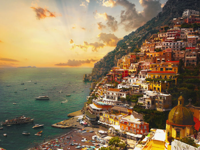 My Edits :) Low Angle View Architecture Beauty In Nature Building Exterior Built Structure City Cityscape Day Destination Horizon Over Water Nature No People Outdoors Positano Sea Sky Tourism Travel Destinations Vacation Water