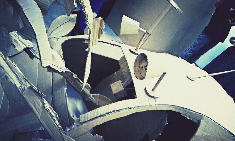 Art Cardboard Installation Car Crash