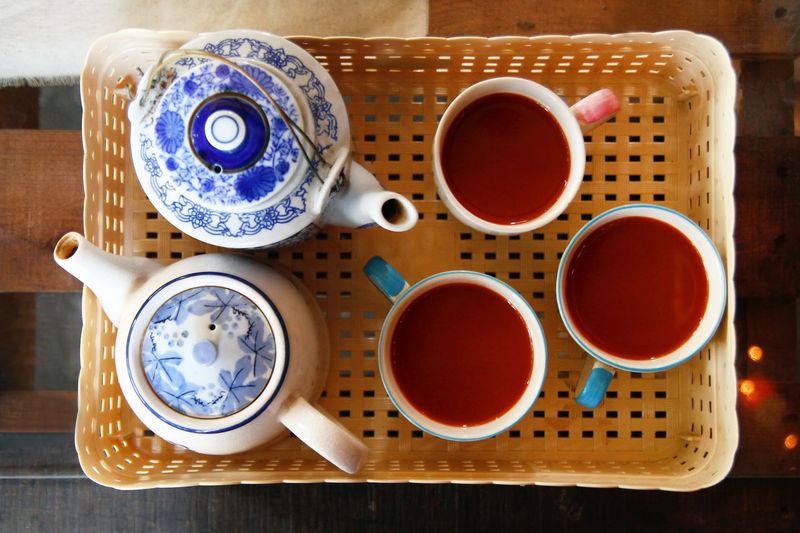 High angle view of tea cups on table