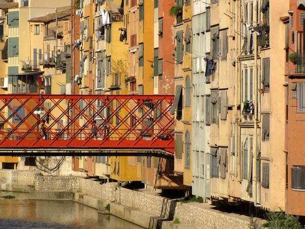 Architecture Building Building Exterior Built Structure Canal City Day Girona Cathedral Girona City No People Outdoors Oñar River Residential Building Residential District Residential Structure Town