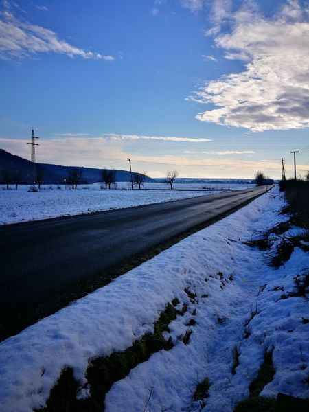 road in winter Sky Nature Landscape Tranquility Cold Temperature No People Outdoors Beauty In Nature Day Sunset