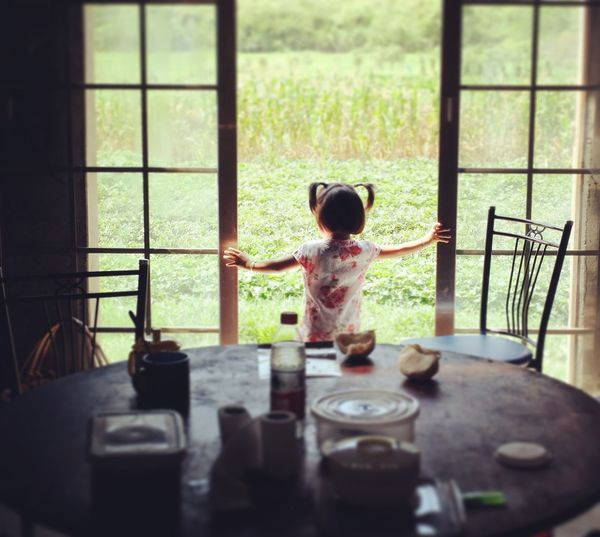 Country Side Farm Way Of Life Villager China Child Childhood Real People Window Indoors  One Person Standing