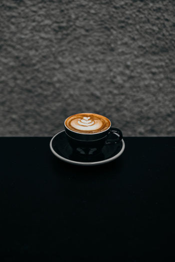 a cup of cappuccino Mocha Froth Art Cappuccino Black Background Frothy Drink Latte Drink Coffee Break Cafe Dessert Caffeine Cream Hot Drink