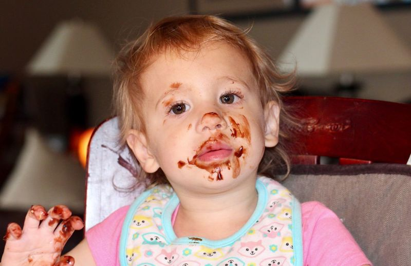 Gotta love chocolate Child Childhood Headshot Portrait One Person Indoors  Front View Innocence Messy