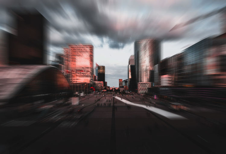 Architecture Blurred Motion Building Building Exterior Built Structure Car City Cloud - Sky Dusk Land Vehicle Long Exposure Mode Of Transportation Motion Nature No People Outdoors Road Sky Street Transportation