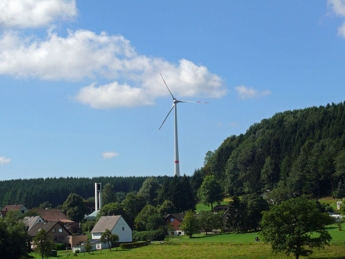 185 Meters Alternative Energie Alternative Energy Church Country Environment Environmental Conservation Fuel And Power Generation Horn-Bad Meinberg Landscape Pinwheel Renewable Energy Rural Scene Sky Teutoburg Forest Teutoburger Wald Tree Velmerstot Wind Power Wind Turbine Windkraft Windkraftanlage Windmill Windmill Windrad