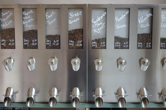 Coffee CoffeeBox Coffeebeans Day Dispenser In A Row Indoors  Kaffee Kaffeebohnen Koffee No People Variation