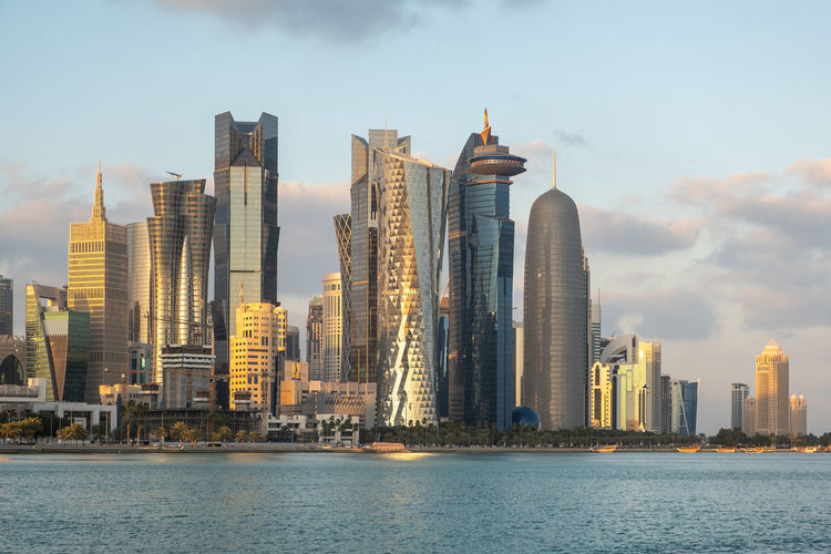 The skyline of doha city center, qatar, middle east.