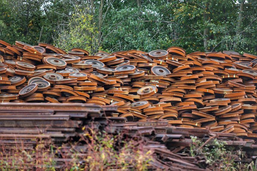 Where train wheels go for their last days. How much does this weigh? Scrap Metal JGLowe Scrap Steel Rust Train Wheels Train Trains