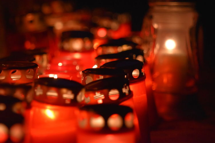 Arrangement Candle Cemetary Choice Close-up Collection Container Food And Drink Glass Glass - Material Illuminated In A Row Indoors  Jar Large Group Of Objects Nightlife No People Order Red Selective Focus Table Transparent