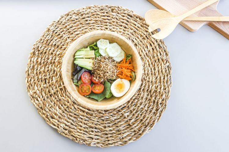 High angle view of food in basket