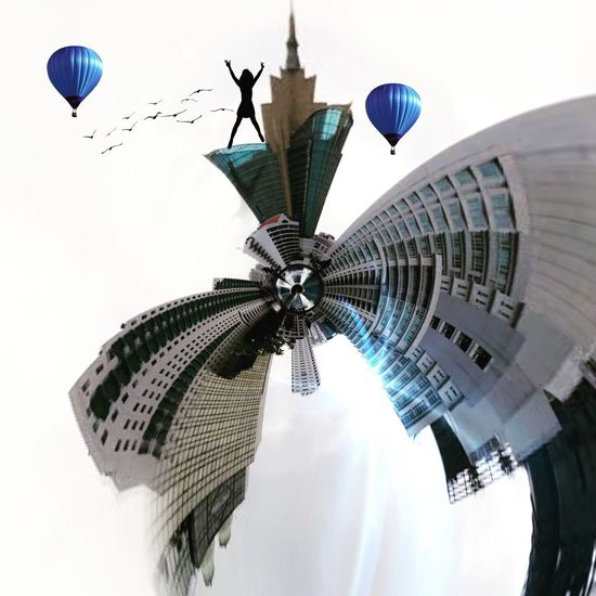 Kissthesky Creative Circular Fantasy ASIA Architecture Sky Built Structure Building Exterior Flying City Nature Building Travel Low Angle View Tourism Skyscraper Tower Outdoors Travel Destinations Office Building Exterior Day Tall - High Mid-air