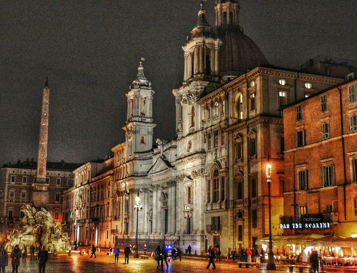 """Navona by Night"" - Roma Roma Rome Navonanight Architecture Building Exterior Illuminated Outdoors Travel Destinations Night Real People Sky Photobydperry Italy Piazza Navona Piazza Night Photography"