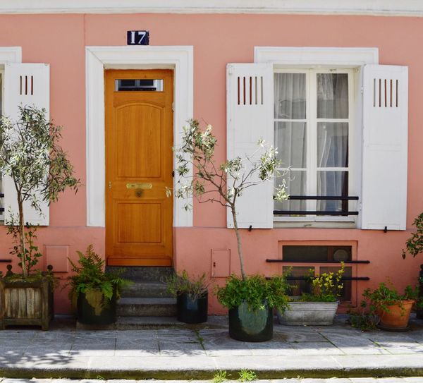 Notting Hill in the middle of Paris Street Streetphotography Paris Outdoors Architecture Architecture_collection Architectural Feature Man Made Man Made Structure Colors Colorful Pink Color Pink Lines Lines And Shapes Lines, Shapes And Curves House Door Built Structure Building Exterior Plant Entrance Potted Plant Building Window Residential District No People Nature Day Closed Growth Glass - Material City Flower Houseplant Flower Pot