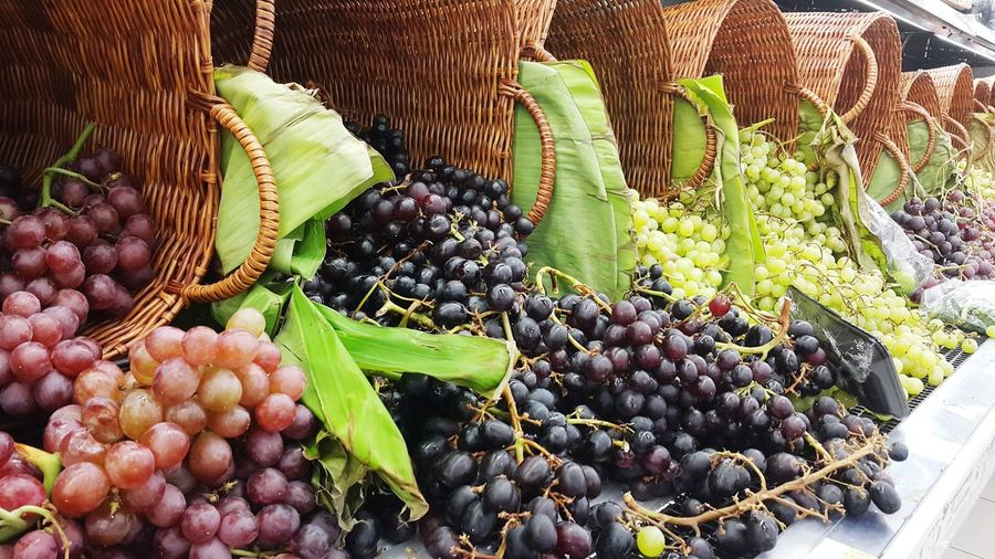 High angle view of grapes in market