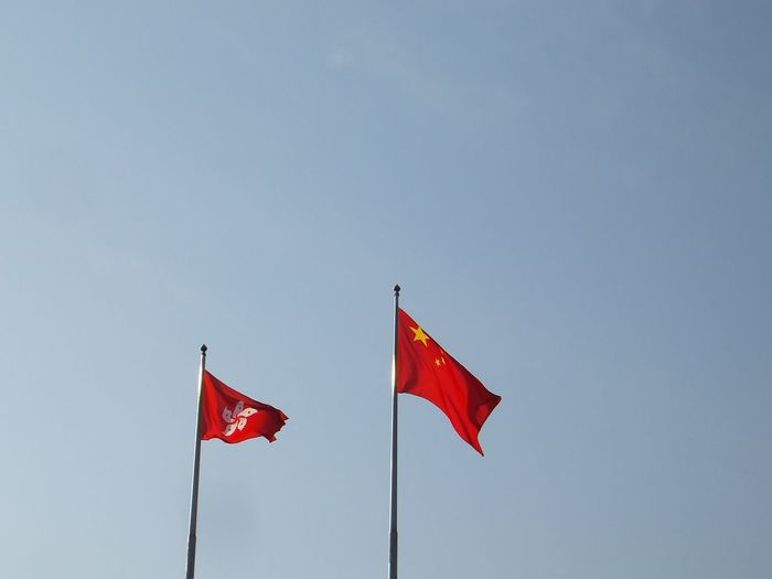 Chinese and honk kong flags