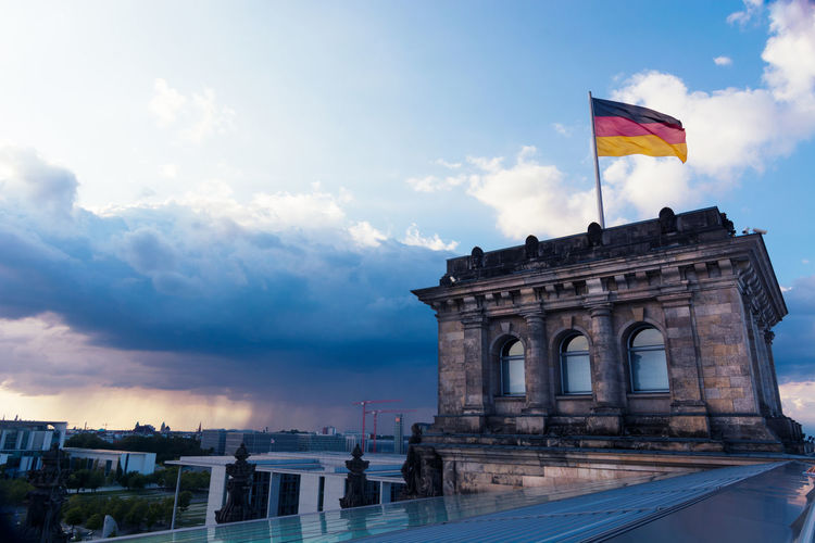 Reichstag district at sunset in Berlin Germany Architecture Berlin Bundestag City Famous Government Travel Arch Building Capital Clouds Destination Flag Germany Historic Landmark Landscape Landscapes Monument Parlament Reichstag Sky Structure Structures Sunset