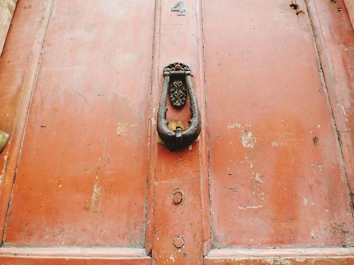 Low angle view of door knocker