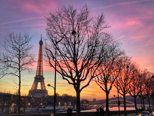 Sunset Eiffel Tower Paris ShotOnIphone HDR IPhoneography Travel Destinations Tower Sky Architecture Tall - High Tourism Travel Built Structure Tree Bare Tree History Orange Color Cloud - Sky Outdoors Monument Silhouette Beauty In Nature No People Sculpture