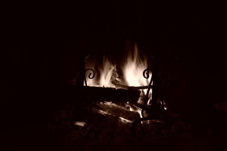 Panoramic shot of fire in the dark