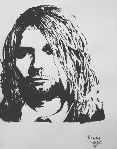 It's been 20 years since you're gone but you'll always live in our hearts RIP the man who sold the world Drawing Painting Kurt Cobain Nirvana