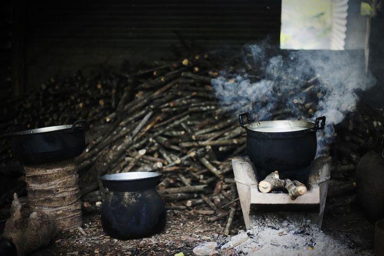 Food being prepared on wood burning stove